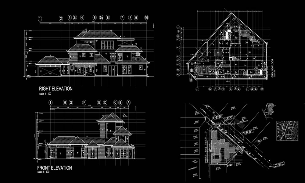 Three Story concrete frame building-drawing