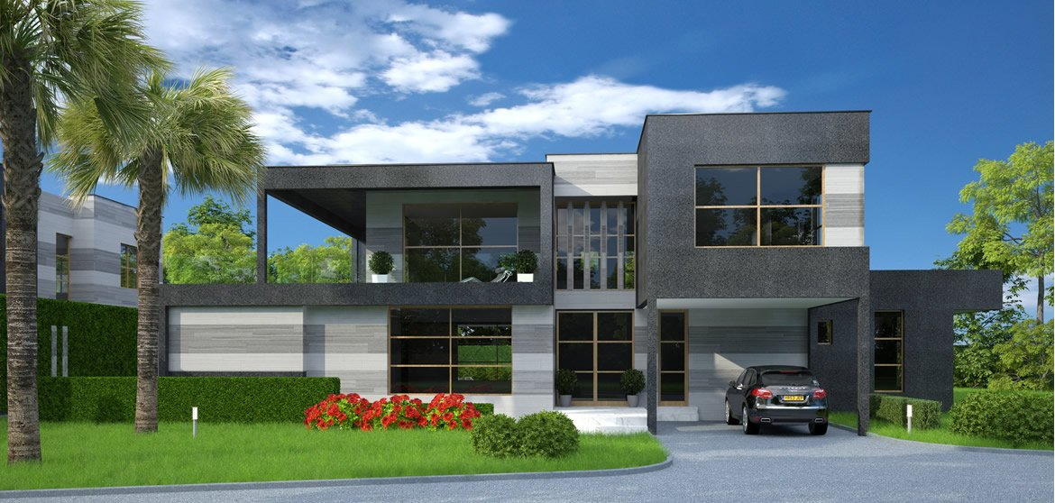 Modern contemporary houses in malawi house design with floor plans elevations for Contemporary modern home designs