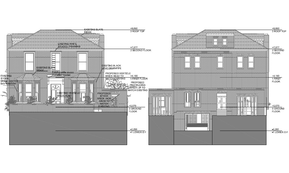 elevations of two story home extension