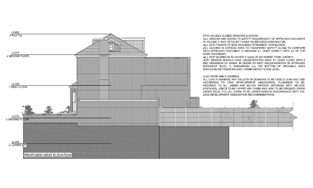 rear elevation of two story home extension