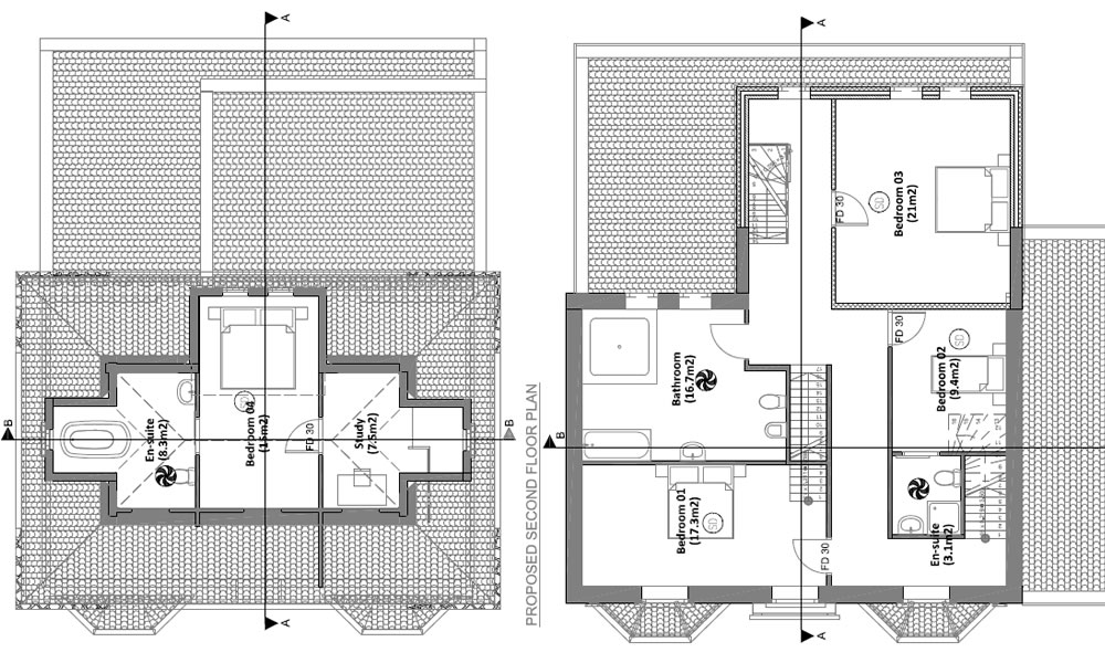 floor plans of two story home extension