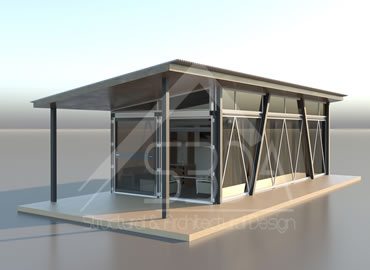 Shipping container home in Salinas with full glass walls