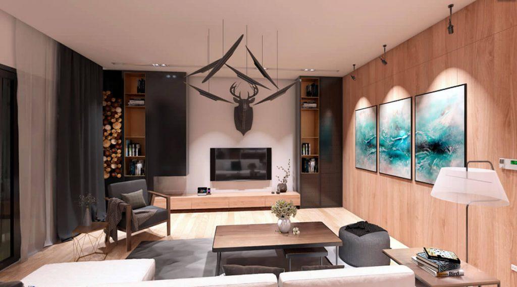 Santa Barbara House Interior Design   360 panorama   3D visualization CA
