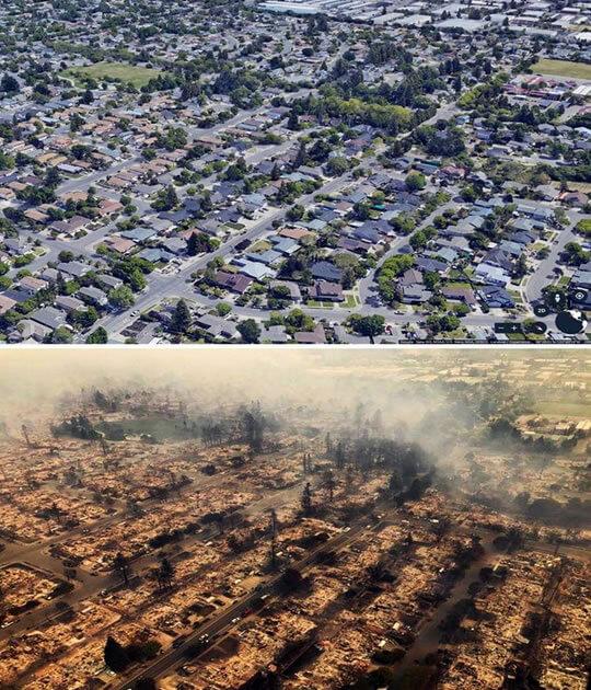 Burned house in California