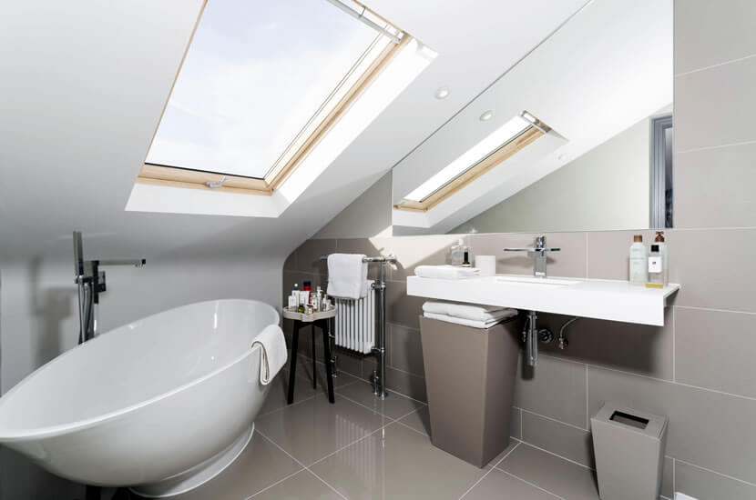 Roof light conversion with bathroom