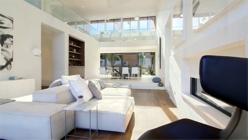 Modern home design-living room in California-furniture