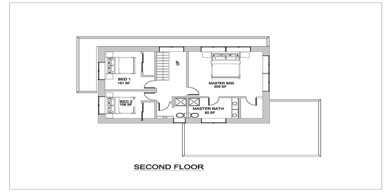 Modern house style - Second floor plan