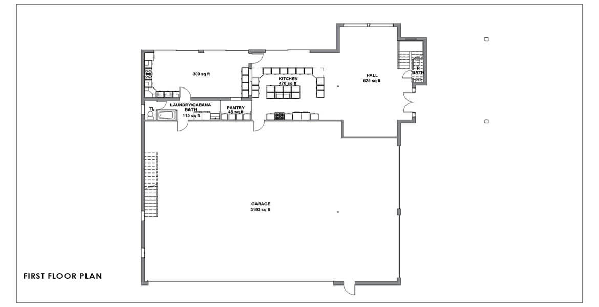 bungalow small house plan in California - first floor plan