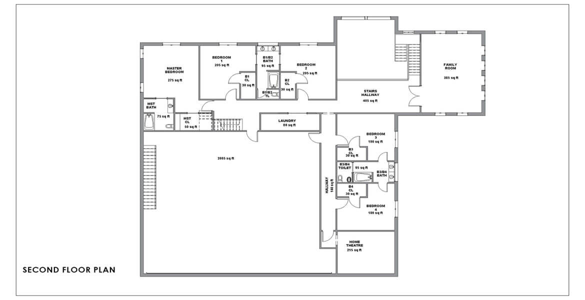 bungalow small house plan in California - second floor plan