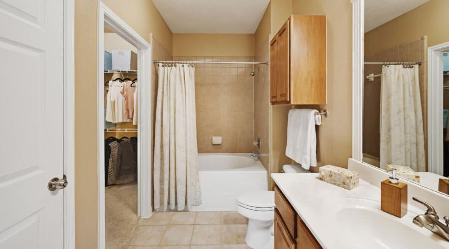 Large Master Bathroom with Double Vanities and Compartmented Toilet