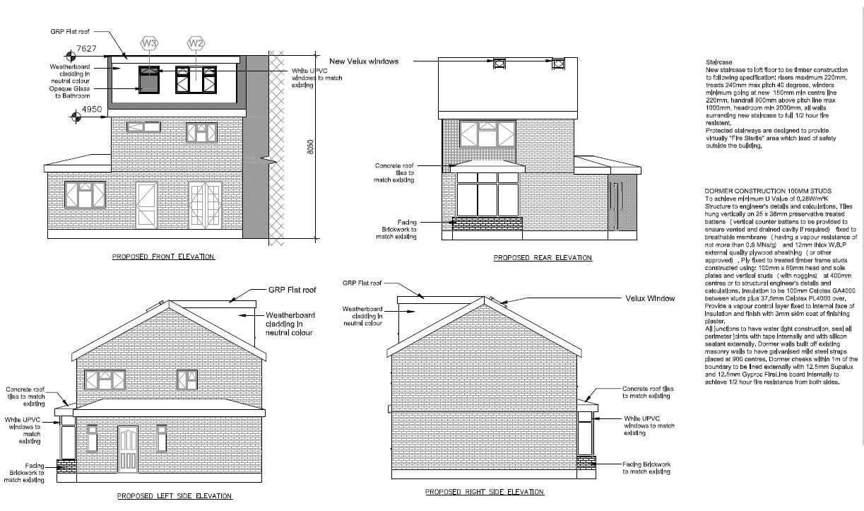 Loft conversion Heybridge - PROPOSED ELEVATIONS