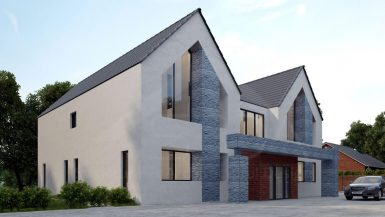 Rear Extension, Two-story new Build House
