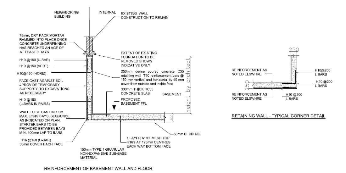Reinforcement of basement wall and floor