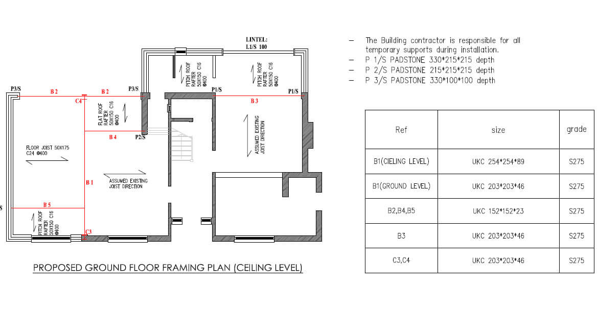PROPOSED GROUND FLOOR FRAMING PLAN(CEILING LEVEL