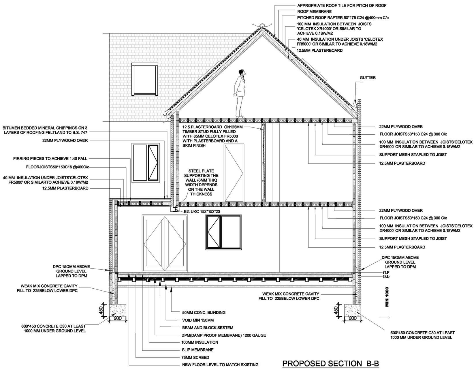 Proposed section of loft conversion