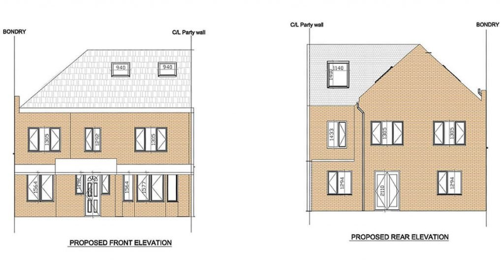 proposed rear elevation - Side extension Welling