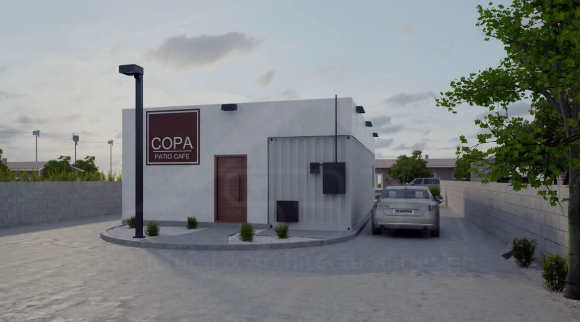 Exterior Rendering- Cafe container