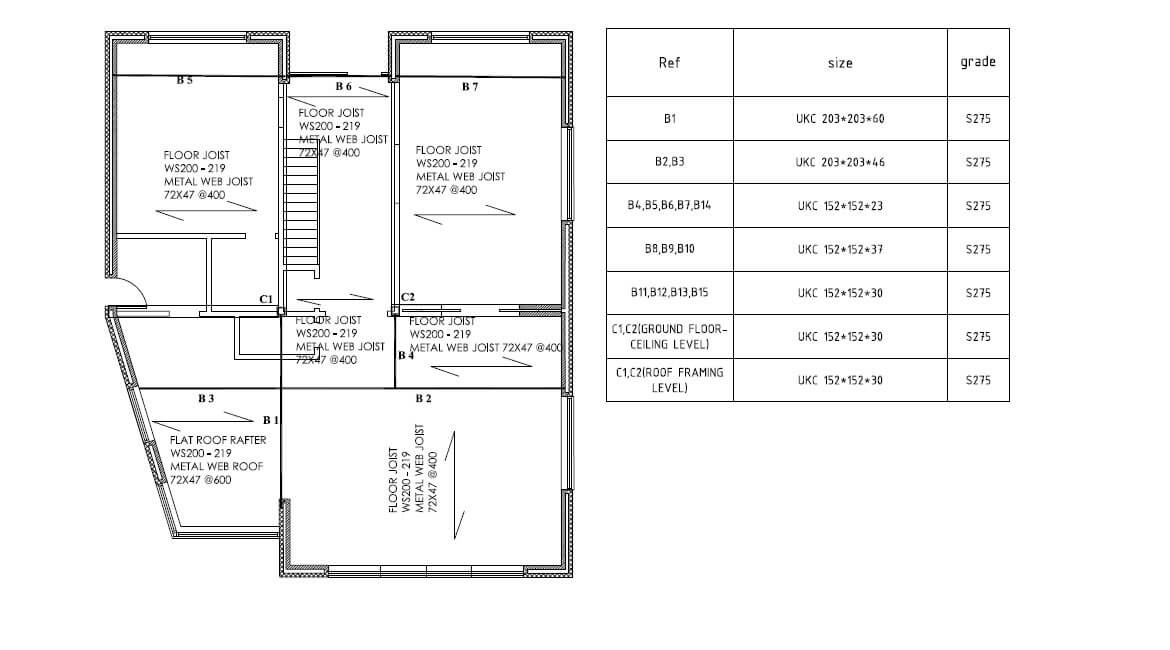 Proposed ground floor framing plan